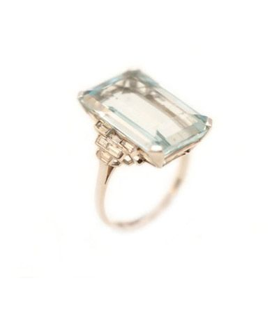 art deco aquamarine + diamond ring