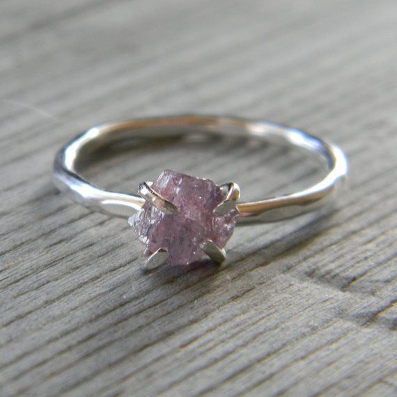 lavender raw stone engagement ring