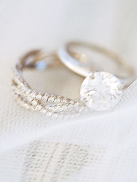 simple engagement ring band and diamond wedding band. love this, the wedding ban...