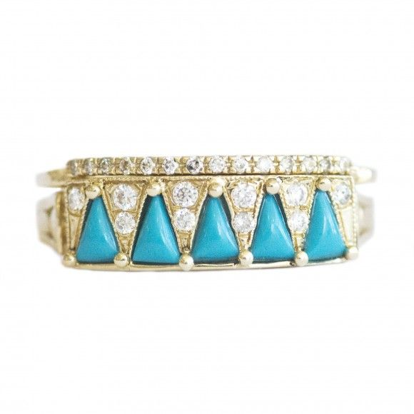 Turquoise Triangle Ring with Wedding Band