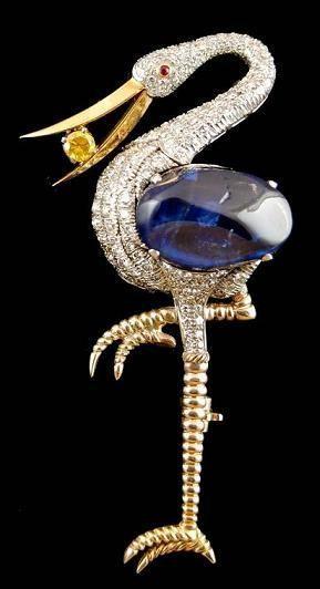 Yellow Gold Diamond & Sapphire Bird Brooch