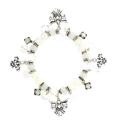 Angel Stretch Charm Bracelet C14 AB Crystal Milky Glass B... www.amazon.com/...