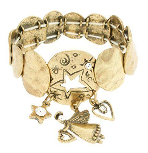 Angel Stretch Charm Bracelet Z8 Clear Crystal Star Wide Burnish Gold Tone Recycl...