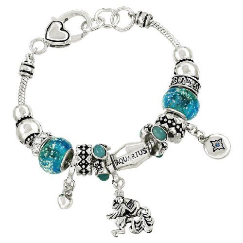 Aquarius Charm Bracelet BU Blue Murano Glass Bead Zodiac ... www.amazon.com/...