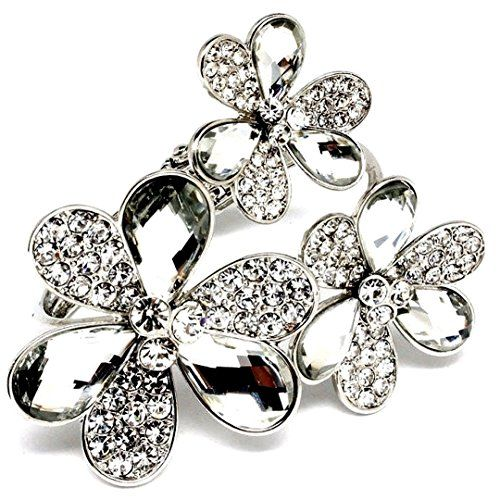Triple Flower Bracelet C57 Clear Crystal Hinged Cuff Recyclebabe Bracelets www.a...