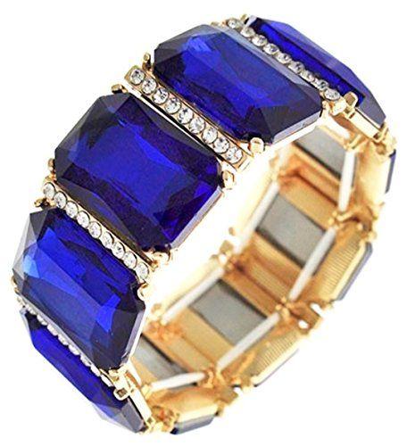 Blue Stretch Bracelet Z9 Clear Crystal Emerald Cut Glass Stones Gold Tone Recycl...