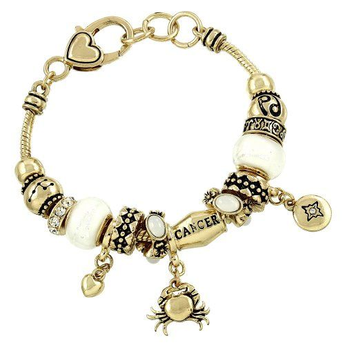 Cancer Zodiac Charm Bracelet Z14 Clear Crystal White Mura…