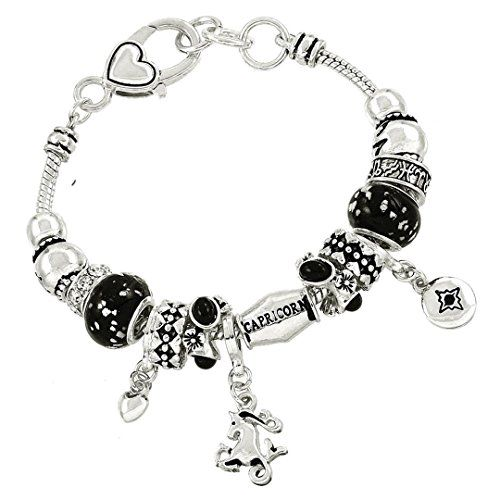 Capricorn Charm Bracelet BJ Black Crystal Murano Glass Zo…