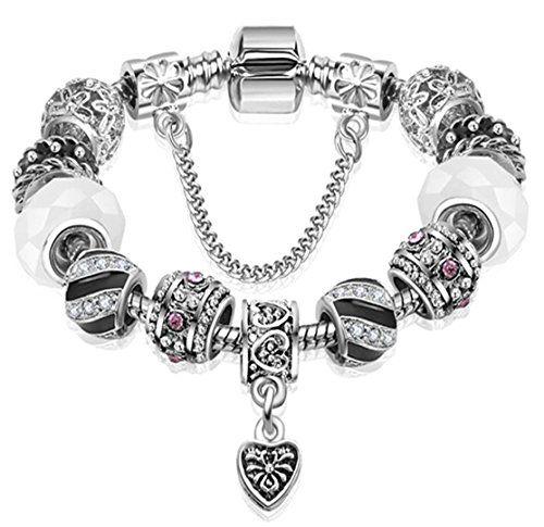 Charm Bracelet C41 Black White Murano Beads Crystal Pearl Ornate Gold Tone Recyc...