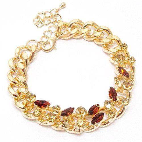 Crystal Link Bracelet C30 Amber Chunky Lobster Clasp Recyclebabe Bracelets www.a...