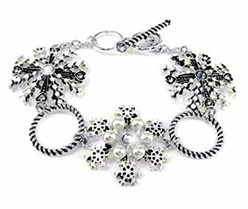 Crystal Snowflake Bracelet D4 Toggle Clasp Silver Tone Sp... www.amazon.com/...