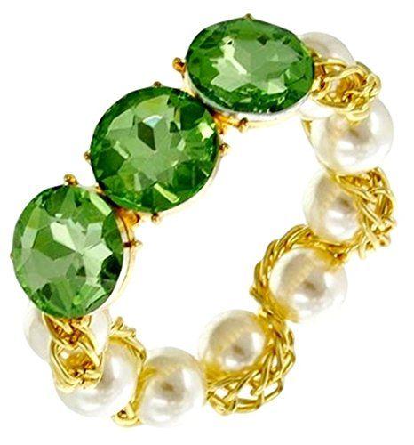 Crystal Stretch Bracelet C54 Light Green Ivory Pearl Like Stones Gold Tone Big C...