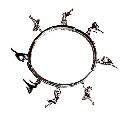 Dance Charm Bracelet C46 Stretch Bangle Silver Tone Recyc... www.amazon.com/...