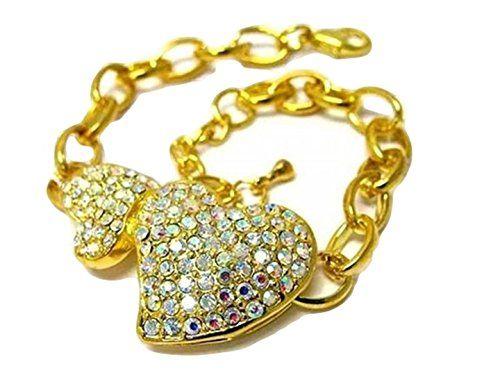 Double Heart Bracelet Aurora Borealis Crystal D9 Gold Ton... www.amazon.com/...
