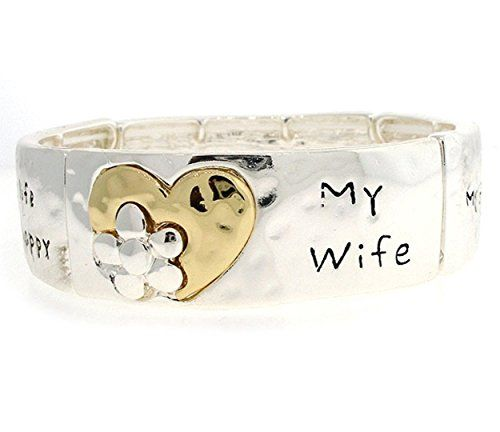 Fabulous Wife Bracelet BO Inspirational Hammered Silver Gold Tones Stretch Bookm...