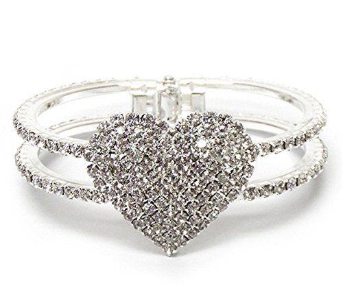 Fancy Heart Bracelet Z3 Hinged Cuff Bangle Crystal Brilli... www.amazon.com/...