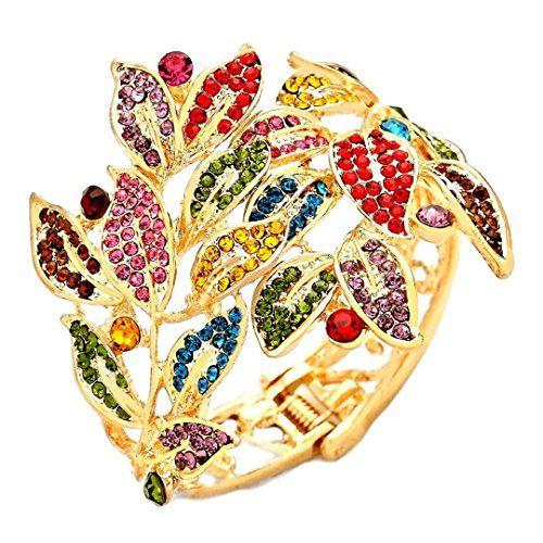 Fancy Hinged Bracelet BD Colorful Crystal Gold Tone Wide ... www.amazon.com/...