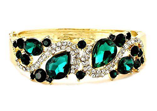 Fancy Hinged Bracelet Z12 Clear Green Crystal Glass Teard... www.amazon.com/...