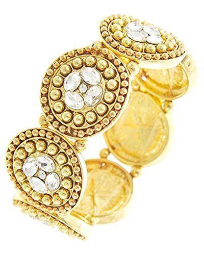 Fancy Stretch Bracelet BS Clear Crystal Ornate Gold Tone ... www.amazon.com/...