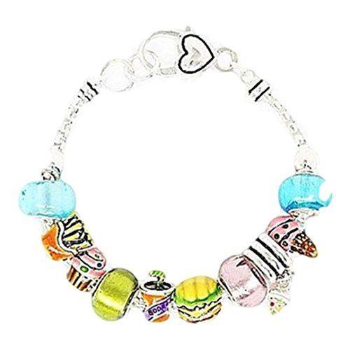 Fast Food Charm Bracelet BD Blue Green Lilac Murano Beads... www.amazon.com/...