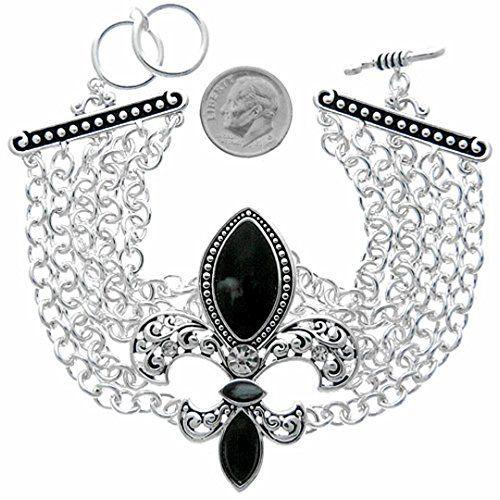 Fleur De Lis Bracelet Z5 Clear Crystal Black Stone Multi Wide Toggle Clasp Recyc...