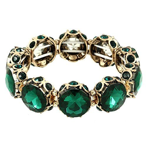 Green Stretch Bracelet BS Round Crystal Glass Stones Gold Tone Fancy Recyclebabe...