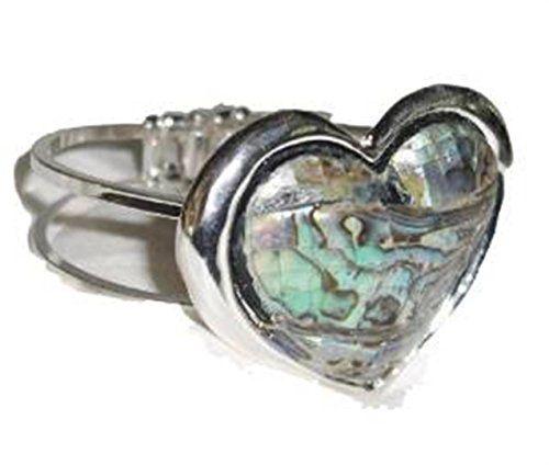 Heart Bangle Bracelet G4 Abalone Accents Silver Tone Wide Recyclebabe Bracelet w...