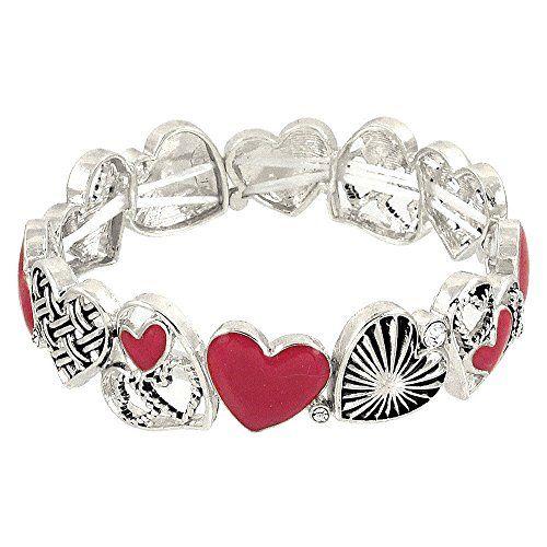 Heart Bracelet Different Designs BU Red Silver Luxury Pla... www.amazon.com/...