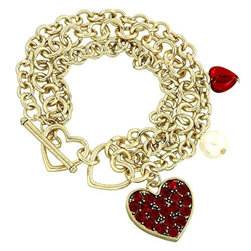 Heart Charm Bracelet BQ Red Crystal Multi Chain Gold Tone Toggle Valentine Recyc...