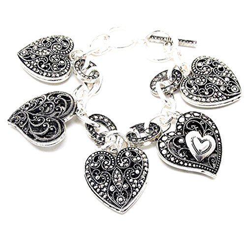 Heart Charm Bracelet D10 Marcasite Look Ornate Texture Lo... www.amazon.com/...