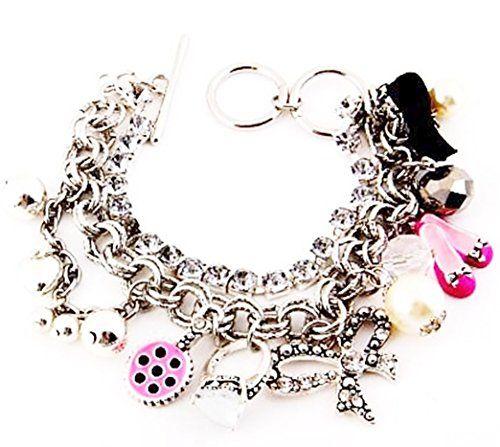 Heart Charm Bracelet D4 Crystal Pearl Shoe Ring Bow Multi... www.amazon.com/...