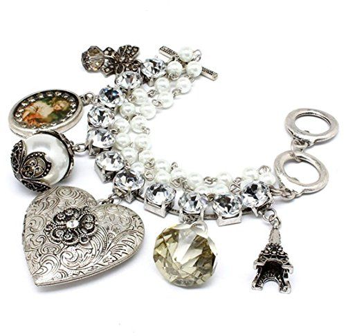 Heart Locket Charm Bracelet Clear Crystal C21 Eiffel Towe... www.amazon.com/...