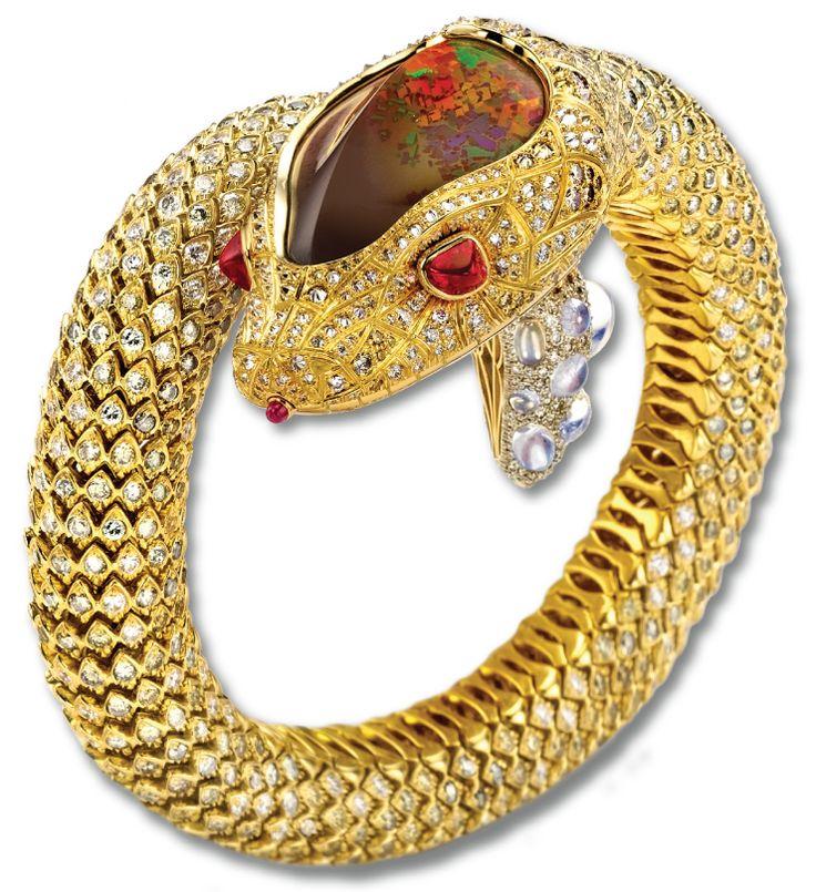 18K Yellow Gold, Diamond, Fire Opal and Ruby Snake Cuff Bracelet - Nicholas Varn...