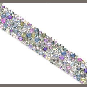A multi-color sapphire and diamond bracelet