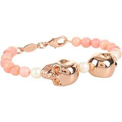 Alexander McQueen Double Skull Pearl Rose Gold Bracelet