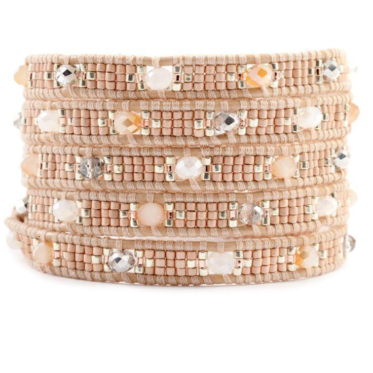 Chan Luu - Champagne Mix Wrap Bracelet on Peach Leather, $180.00 (www.chanluu.co...