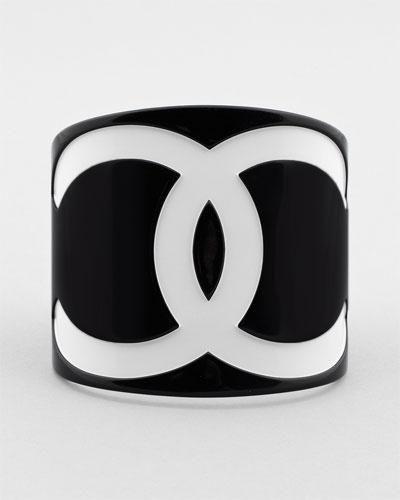 Chanel Extra Wide Black  White Icon Cuff