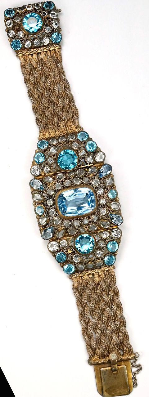 Hobe Braided Gold and Filigree Aquamarine Pale Sapphire and Blue Topaz Bracelet