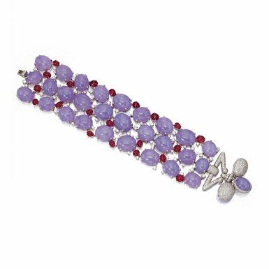 Lavender jade, ruby and diamond bracelet, Michele della Valle