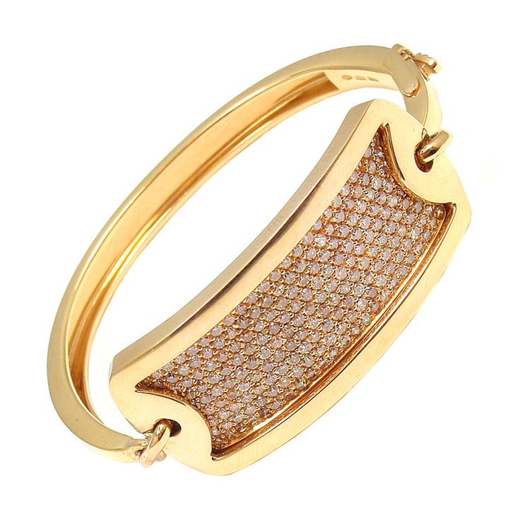 ROBERTO COIN 18k Yellow Gold Diamond ID Bracelet by Robert Coin. With 200 Fancy ...