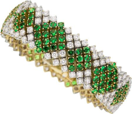 Tsavorite Garnet, Diamond, Gold Bracelet.