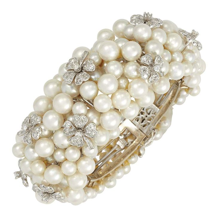 White Gold, Platinum, Cultured Pearl and Diamond Cuff Bracelet.