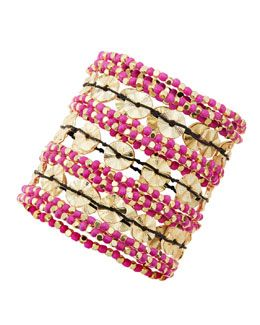 Y1W0F Amrita Singh 11-Row Stretch Bracelet, Pink/Golden