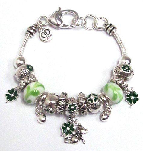 Irish Charm Bracelet BE Green Murano Beads Crystal Shamro... www.amazon.com/...
