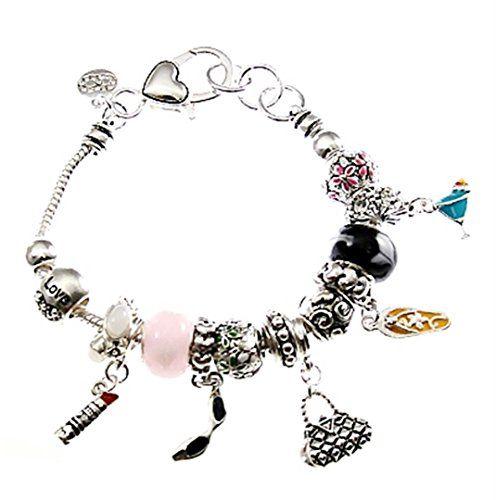 Ladies Fashion Charm Bracelet BH Pink Black Murano Beads Clear Crystal Recycleba...