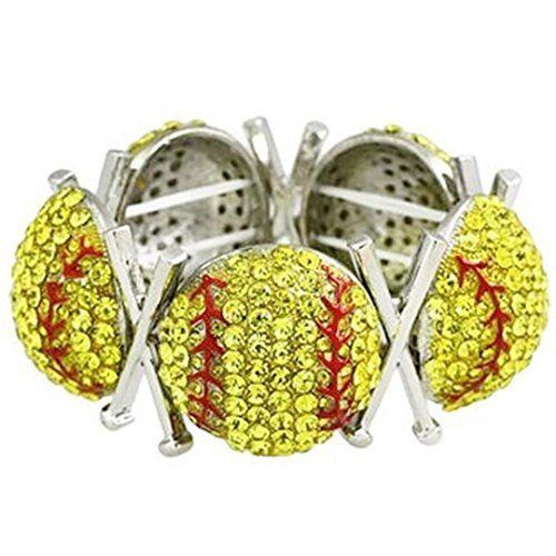 Large Softball Stretch Bracelet Crystal Silver Tone Recyc... www.amazon.com/...