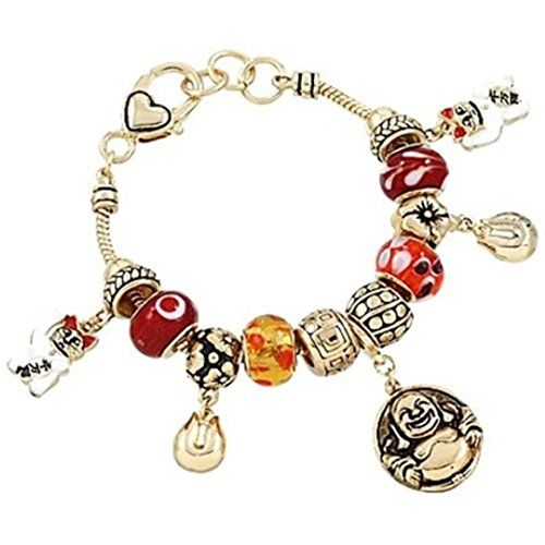 Lucky Charm Bracelet C56 Murano Buddha Cat Fortune Cookie... www.amazon.com/...
