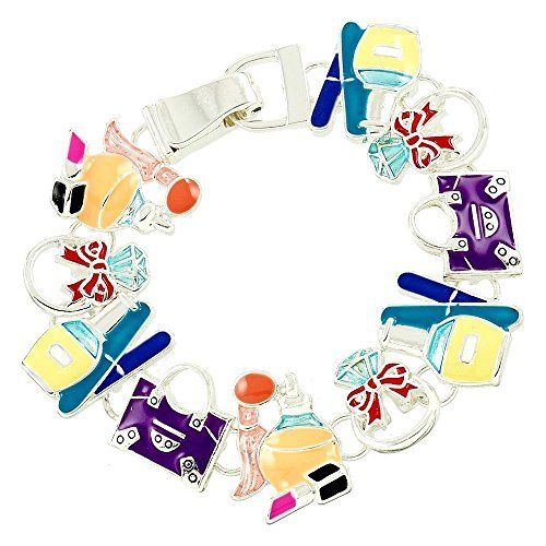 Makeup Charm Bracelet BW Colorful Magnetic Clasp Silver Tone Recyclebabe Bracele...