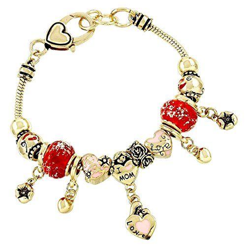 Mom Charm Bracelet C57 Red Murano Bead Tiny Heart Charm G... www.amazon.com/...