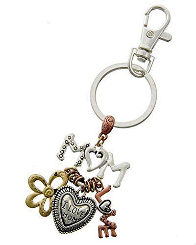 Mom Key Chain CX Mother Charms Tri Tone Purse Jewelry Rec... www.amazon.com/...